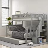 Solid Wood Twin Over Full Bunk Beds with Storage Drawers, Bunk Beds for Kids with Ladder and Guard Rail (Gray (Bunk Bed…