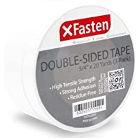 XFasten Double Sided Tape, Removable, 3/4-Inch by 20-Yards (19.05mm x 18.28m), Pack of 3, Ideal as a Gift Wrap Tape…