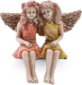 Sugar House Miniature Fairy Figurine Statue – Garden Décor Accessories Fairies (Best Friends)