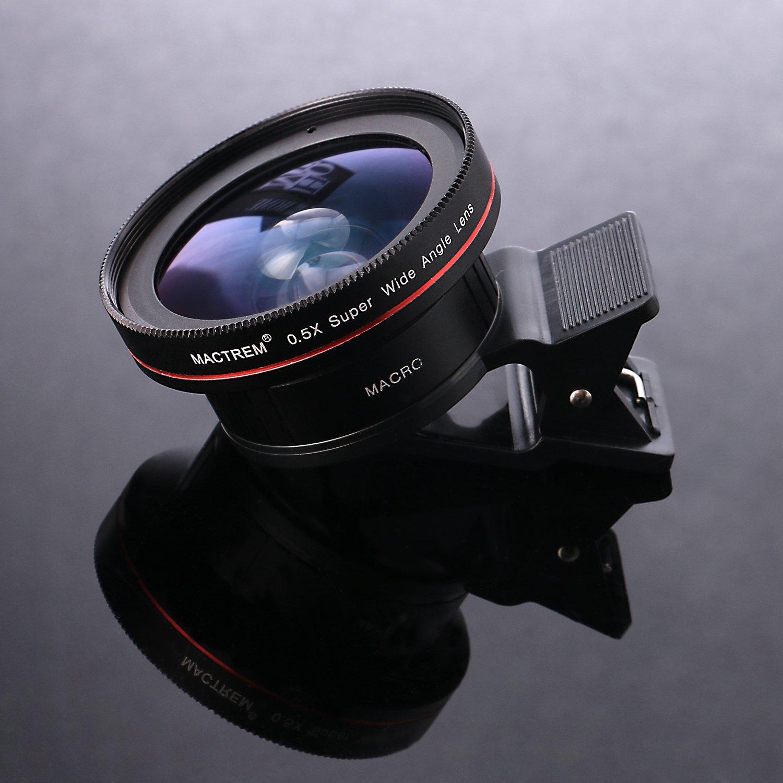 Mactrem Universel 2 en 1 Kit de Lentille de Caméra Objectifs Smartphone HD 0.5X Objectif Grand Angle + 15X Objectif Macro pour iPhone 7 / 7 Plus / 6S / 6S Plus / 5S, Samsung