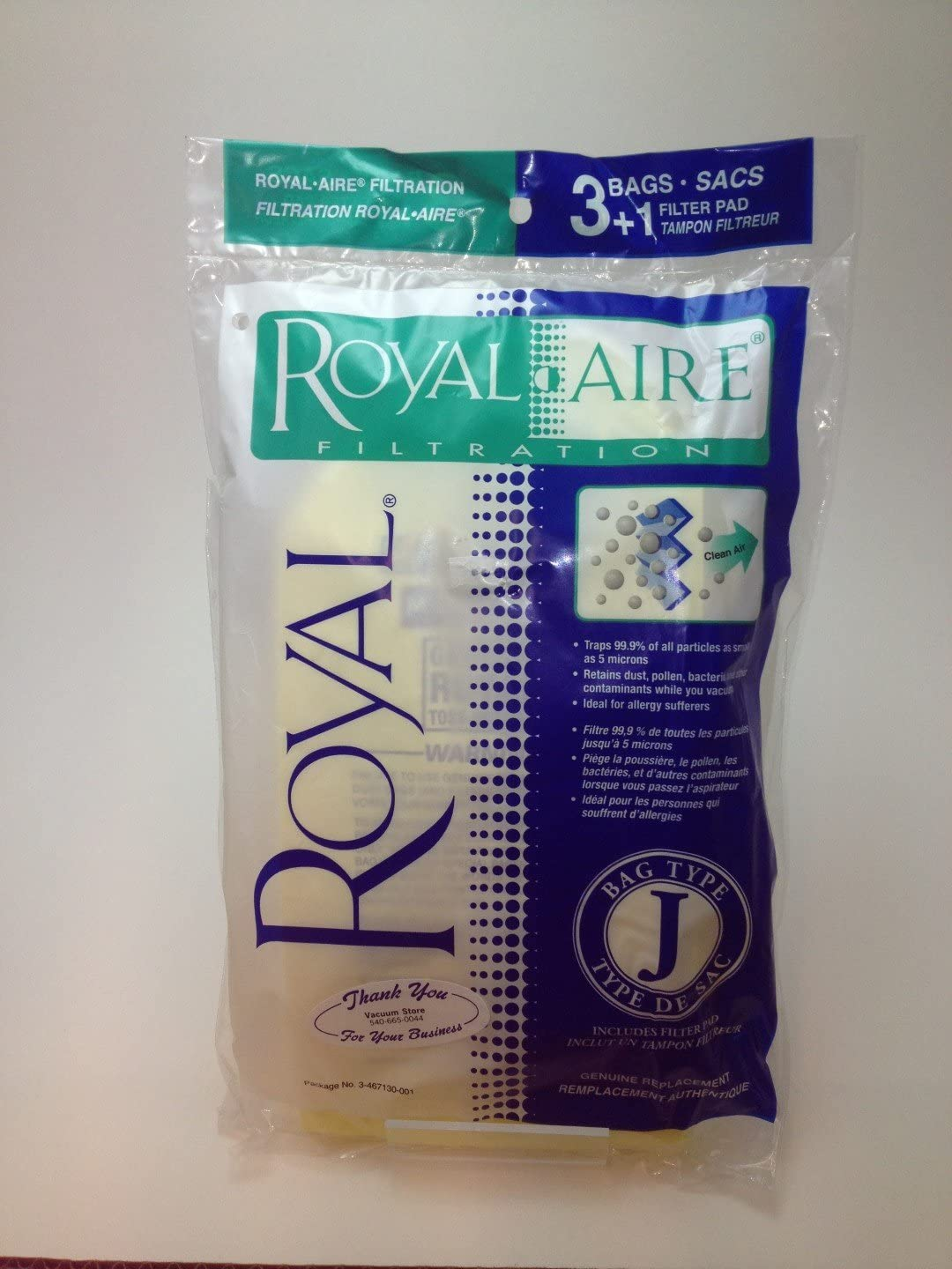 Royal / Dirt Devil Type J Royal-aire Micro-filtration Vacuum Bags 3-467130-001 - 3 Bags (Does Not Include 1 Filter) - Genuine