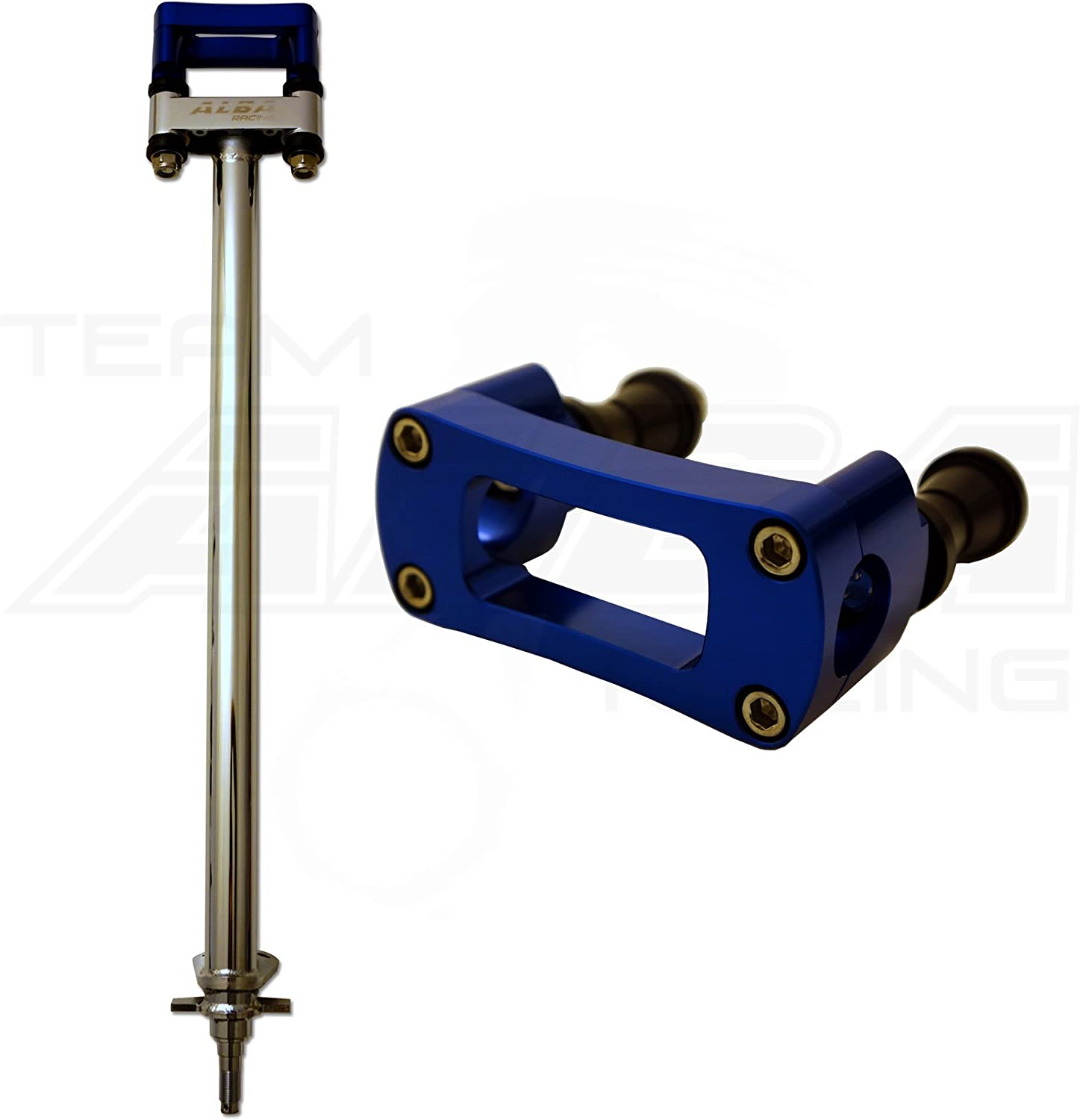 TRX 400EX 1 Chrome Steering Stem with 7//8 Anti Vibe Bar Clamp Compatible with Honda Black 740 CB