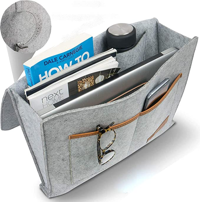 Kozy Designs Dormroom Essentials Bedside Caddy Organizer with New Laptop Keeper Pocket and Non-Slip Stability Flap 12 Pockets Hanging Storage Perfect for College Dorm Rooms and Bunk Beds