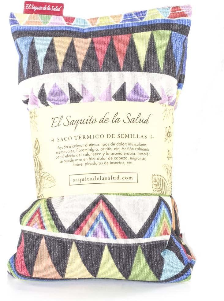Bouillotte garnie de graines ar/ôme lavande fleur doranger ou romarin tissu motif Azt/èque 28 x 26 x 2 cm