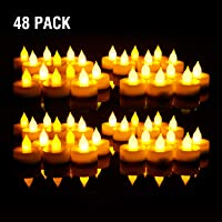 EverBrite 48PC Vela LED Sin Llama Vela Electrónica Lámpara de mesa Luz de Té con Pilas Duración Prolongada 120 Horas para Decoración Festivales [Clase de eficiencia energética A+++]