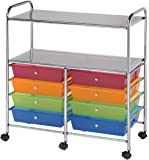 Blue Hills Studio SC8MCDW-12-S Storage Cart 8-Drawer (Wide) with 2-Shelf Multi-Colored