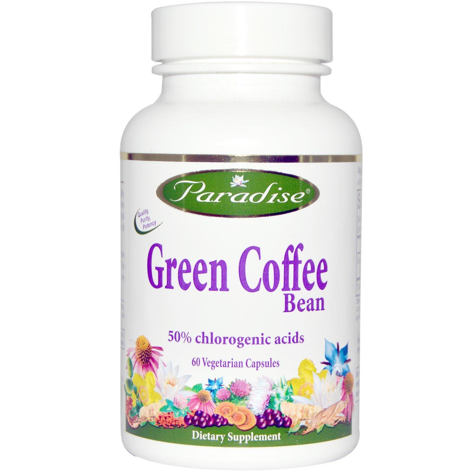Paradise Herbs, Green Coffee Bean, 60 Veggie Caps - 2pc