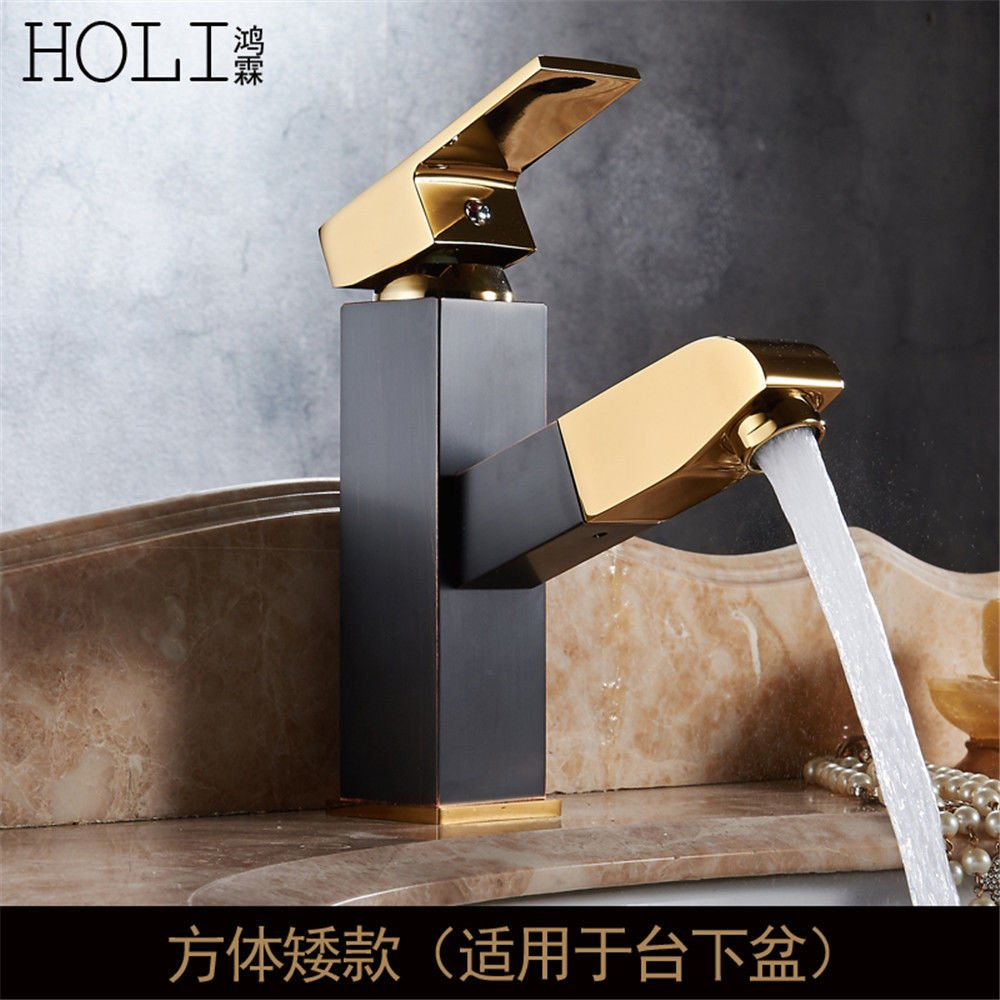SADASD European High-End Copper Bathroom Basin Faucet Pull-Type Retro gold Stretch Wash Basin Sink Taps Single Hole Single Handle Ceramic Valve Hot And Cold Water Mixer Tap With G1 2 Hose