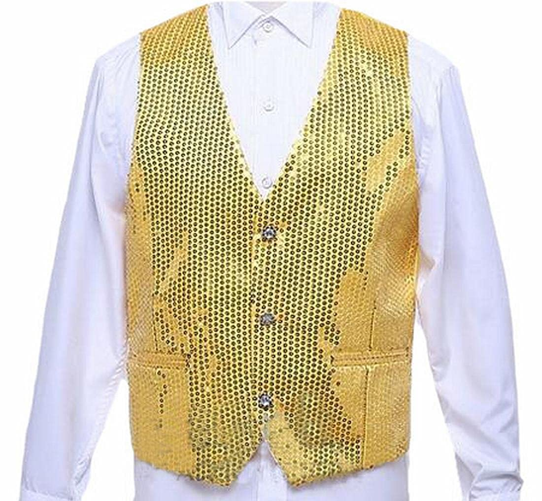 XQS Mens Fashion Sequin Vest Slim Fit 3 Button Single Breasted Waistcoat