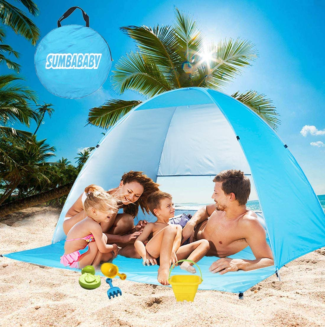 Amazon Com Large Beach Tent Uv Pop Up Sun Shelter Tents Big Portable Automatic Sun Umbrella Waterproof Windproof Instant Easy Outdoor Cabana Fit 3 4 Persons For Camping Hiking Canopy With Carry Bag Blue Sports