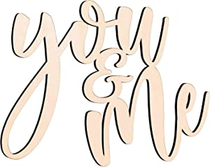 You & Me Wood Sign Wall Art Decor, Farmhouse Wood Letter Cutouts for Valentine's Day Home Bedroom Decoration, Anniversary, Wedding Couples Gifts