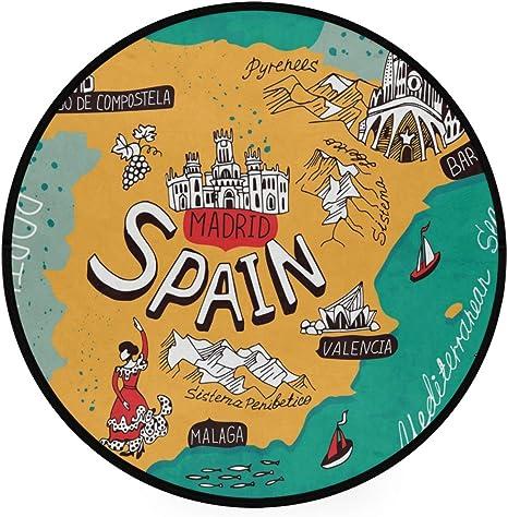 Alfombra redonda antideslizante con diseño de mapa de España para yoga, juegos de niños y mascotas, para dormitorio, sala de estar, sala de juegos: Amazon.es: Bebé