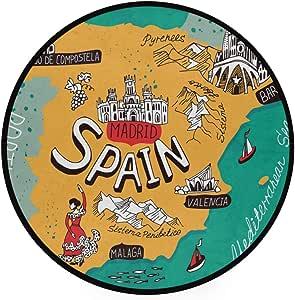 Alfombra redonda antideslizante con diseño de mapa de España para ...