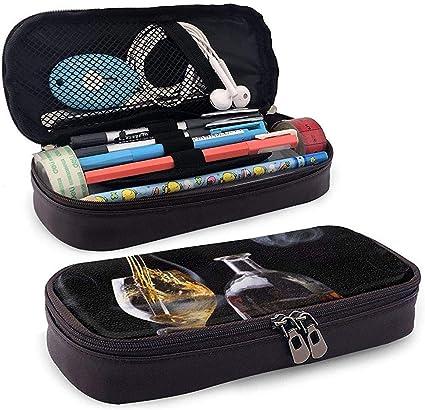 Lápiz de cuero/Estuche para lápices Bolsa de cosméticos Imagen de copa de vino Bolsa de gran capacidad Organizador de papelería para escuela/oficina: Amazon.es: Oficina y papelería