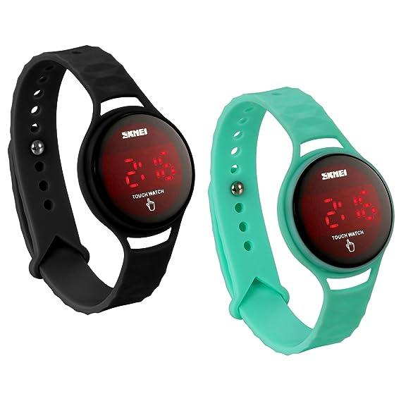 JewelryWe 2 PCS Reloj LED Táctil Pantalla Para Hombre Mujer, Reloj Digital Touch Screen Deportivo Reloj de Correa Desmontable, Buen Regalo de Navidad San ...