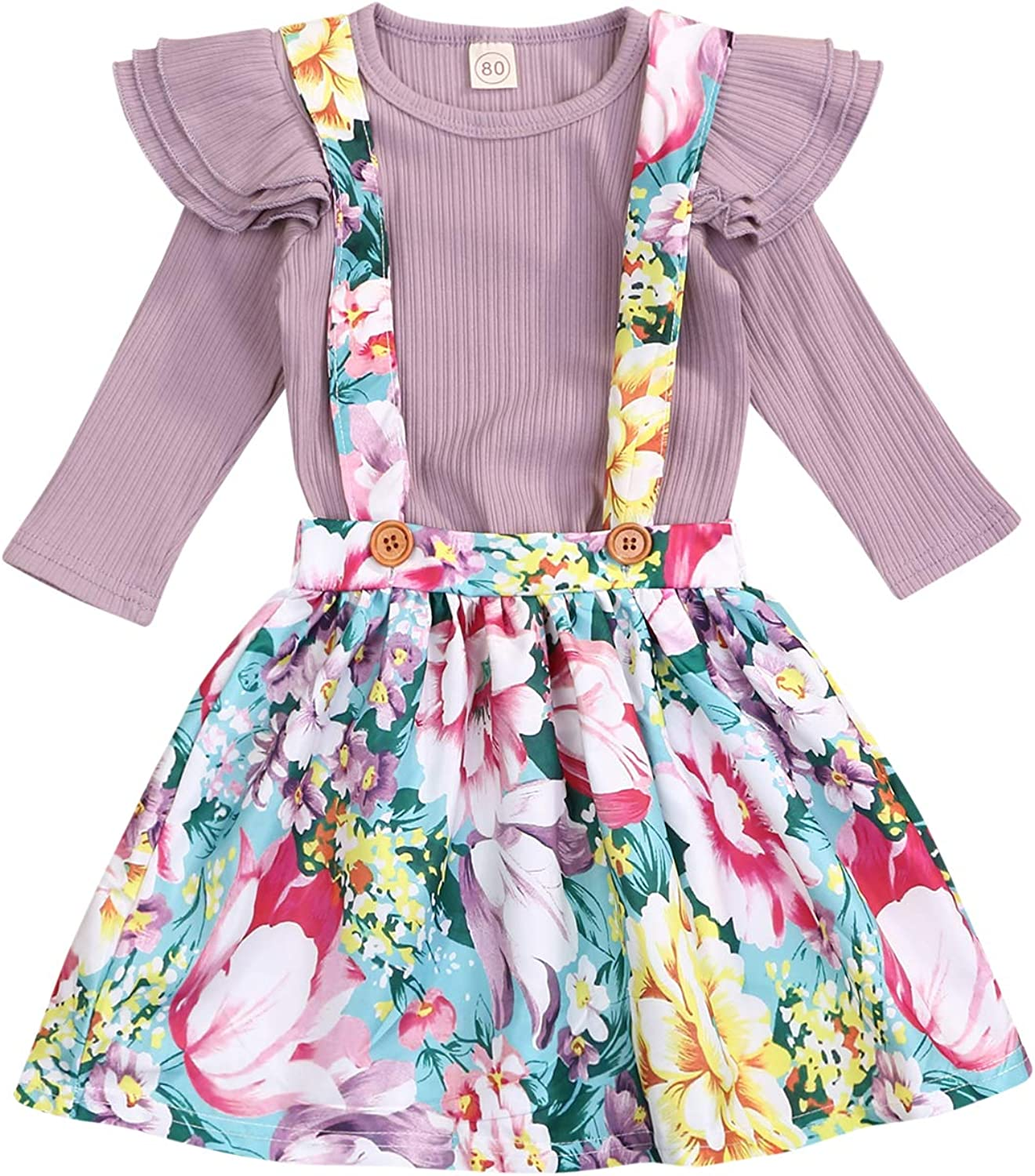 Kids Toddler Baby Girls Skirt Set Outfit Ruffle Long Sleeve T-Shirt Top+Floral Strap Skirt Tutu Dresses Fall Clothes