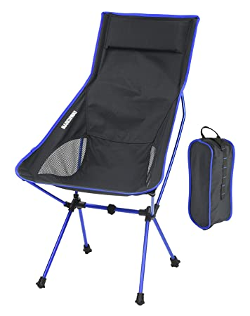 Lightweight Portable Folding High Back Camping Chair With Pillow,  Ultralight Compact Foldable For Outdoor Travel
