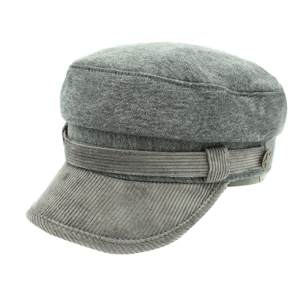 Zhhlinyuan Outdoor Simple Breathable Casual Flat top Hat Adults Mens Womens Cozy Cotton Painter cap Gray