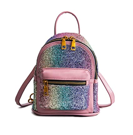 f3d65d7bdb5 Blansdi Sequin Backpack Purse Bling Leather Mini Daypack Bookbag Glitter  Bag for Women Pink