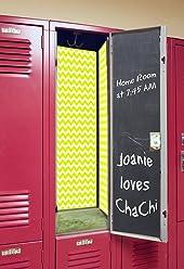 Back to School Magnetic Locker Wallpaper - Chevron (Sunshine w/Chalkboard)