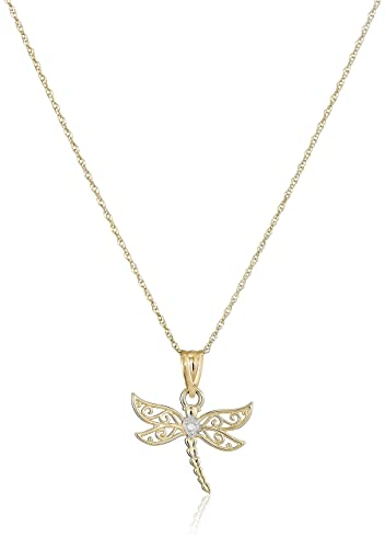 10k yellow gold dragonfly pendant necklace