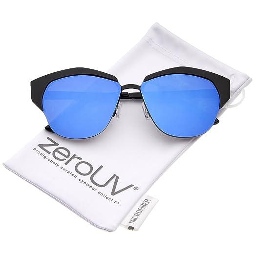8928b68c28 Women s Semi-Rimless Color Mirror Flat Lens Cat Eye Sunglasses 58mm  (Black Blue