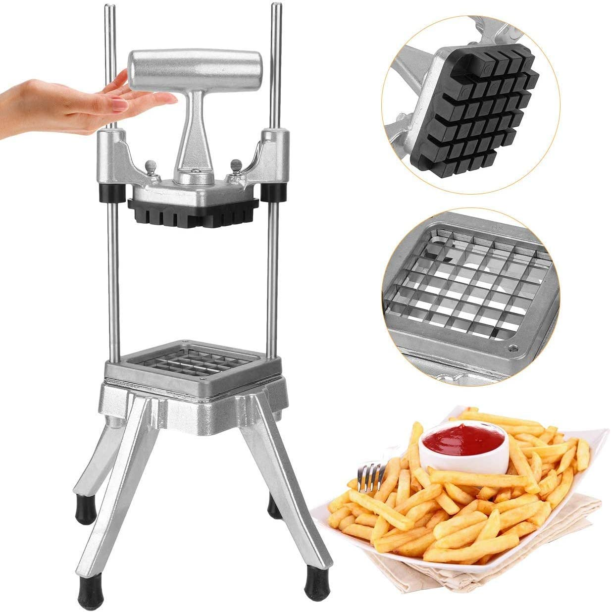 """WICHEMI Vegetable Fruit Dicer Commercial Easy Chopper Dicer Cutter Kattex Chopper Stainless Steel for Onion Tomato Peppers Potatoes Mushrooms (1/2"""" Blade)"""