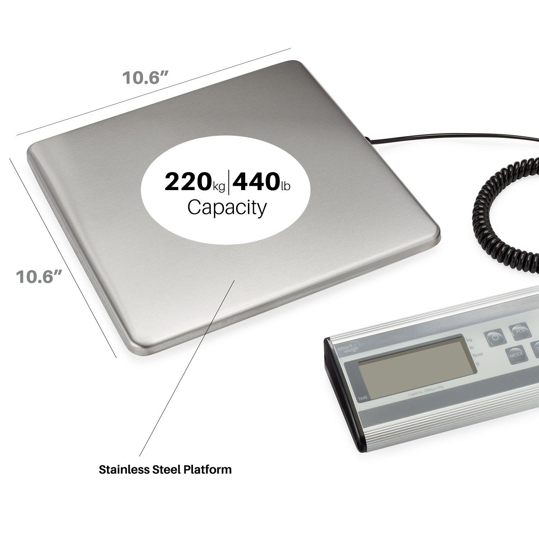 Smart Weigh Balanza Postal De Uso Intenso con Plataforma Larga de Acero Inoxidable de larga duración, Capacidad de 200 Kg, Balanza para Paquetes con Cordón ...