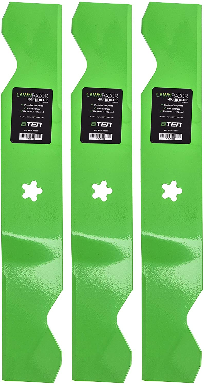 8TEN LawnRAZOR Blade Set for Craftsman AYP 54 Inch Deck 187254 187256 Husqvarna 532187254 532187256 Hi Lift 3 Pack