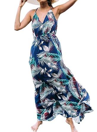 Sommer Lang Kleid Damen Mode Blumen Kleider Strandkleider Blusenkleider  Sexy V Schnitt Kleider Trägerkleid Maxikleid Partykleid Cocktailkleid  Abendkleider ... d672222780