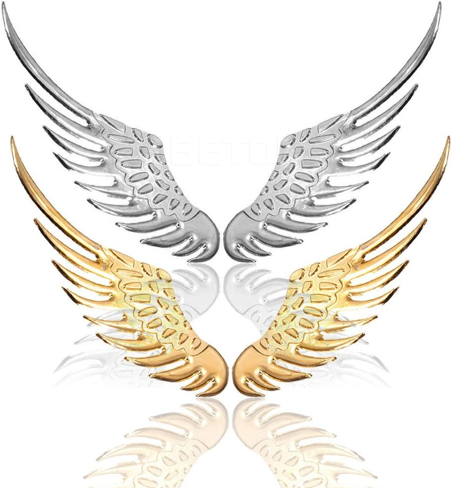 Gold 1 Paar 3D Fl/ügel Aufkleber aus Metal Karosserie Deko polierte Oberfl/äche
