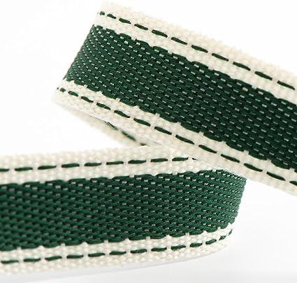 Rollo de cinta de sarga de algodón suave de 15 mm x 10 m, color verde botella: Amazon.es: Hogar