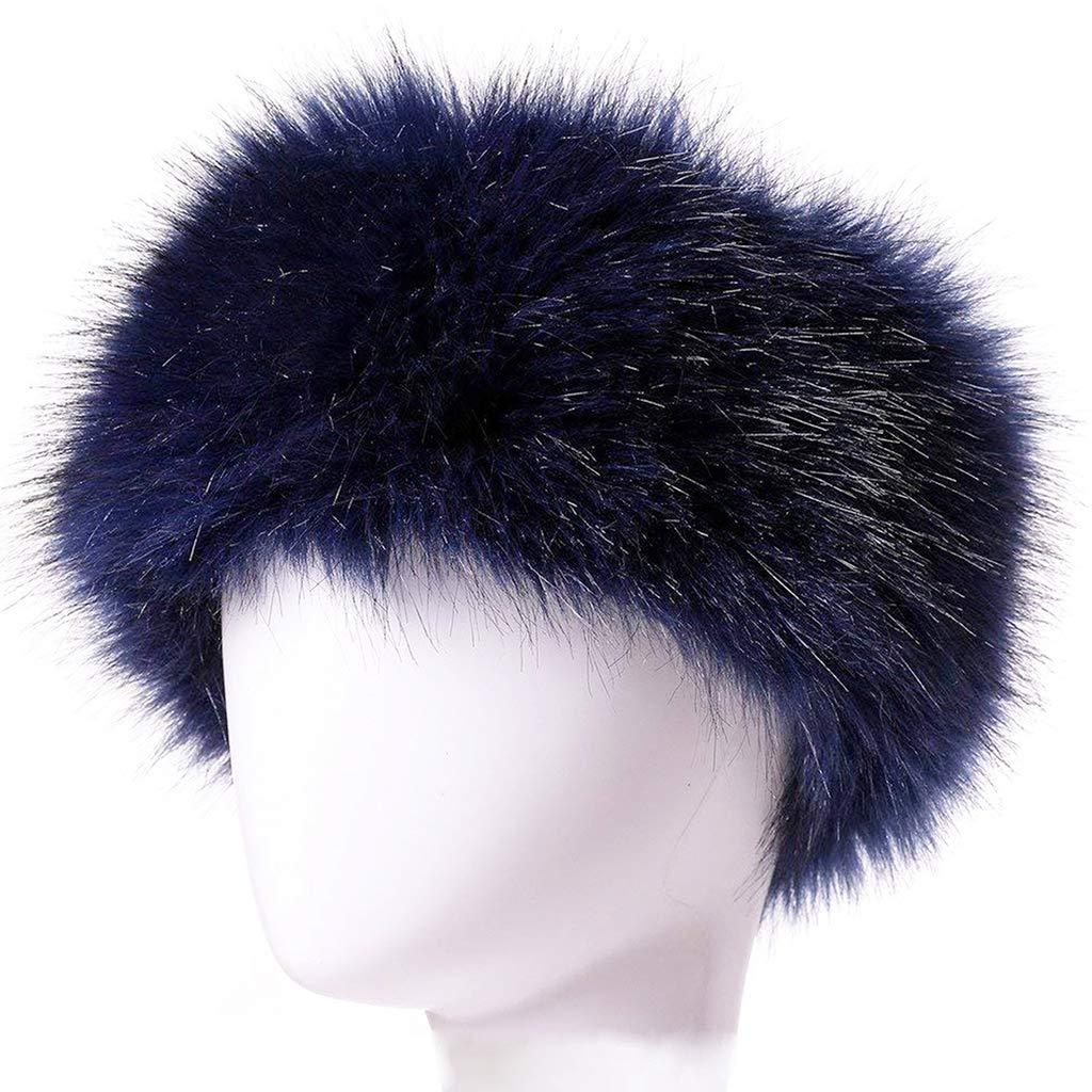 Ski Large kaltes Wetter FHQHTH Kunstfell-Stirnband mit elastischem Ohrenw/ärmer f/ür Damen Blau flauschigem Fellm/ütze f/ür den Winter