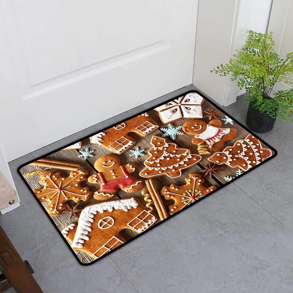 TableCovers&Home Door Mat Extra Large, Gingerbread Man Decorative Imdoor Rugs for Office, Tasty Looking Traditional Cookies Little Snowflakes Cinnamon (Umber Light Brown White, H32 x W48)