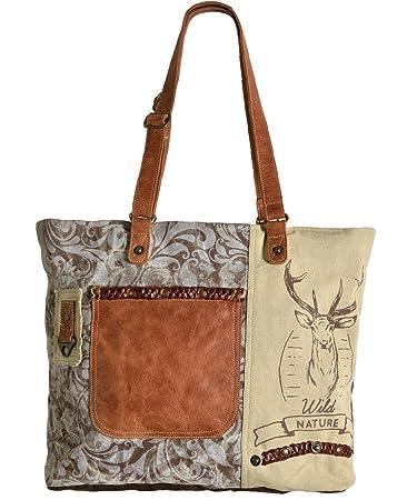 c447e501ac62d Domelo Tracht Damen Trachtentasche Dirndltasche große Shopper Handtasche  Handgelenktasche Vintage Tasche Canvastasche mit Hirsch Design