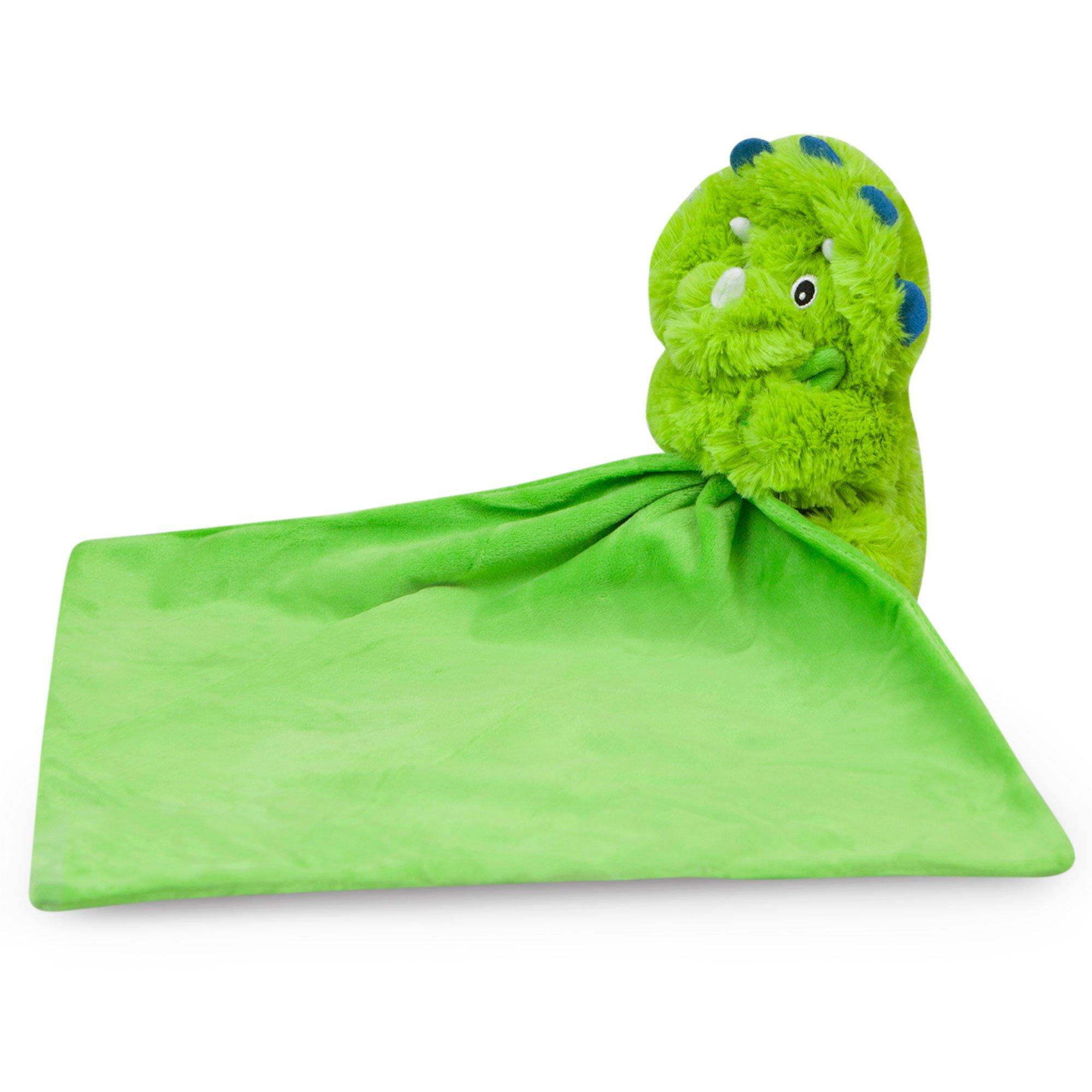 Waddle Rattle Dinosaur Toy Baby Blankie Stuffed Animal Security Blanket Dino Green