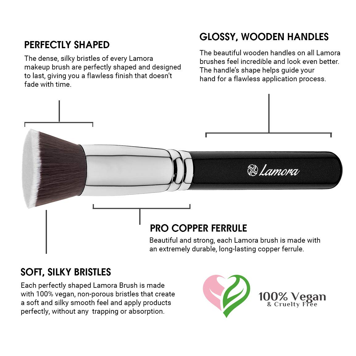 Make Up Brush Foundation Kabuki Flat Top - Perfect For Blending Liquid, Cream or Flawless Powder Cosmetics - Buffing, Stippling, Concealer - Premium Quality ...