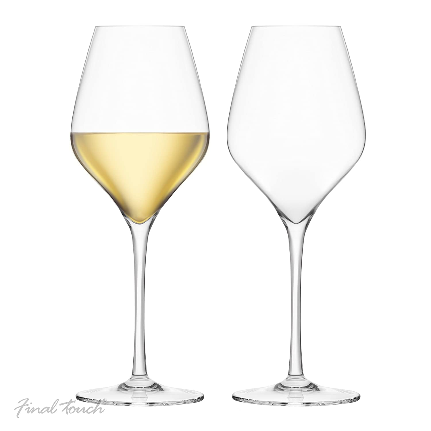 Final Touch 100% Lead-free Crystal White Wine Glasses Goblets Made with DuraSHIELD Titanium Reinforced for Increased Durability Tall 24cm 440 ml - Pack of 2