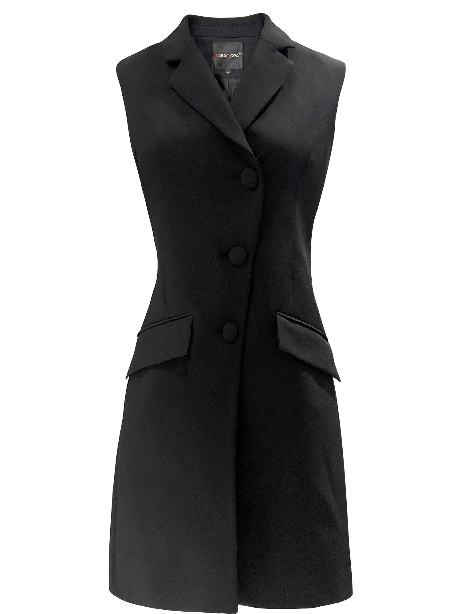 SARAFLORA Women's Sleeveless Long Trench Vest Casual Lapel Blazer Jacket with Pockets Long Suit Coat Waistcoat Black