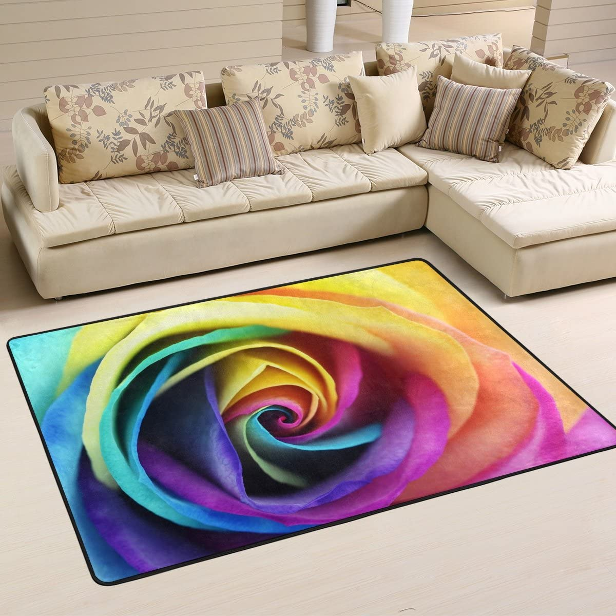 ALAZA Non Slip Area Rug Home Decor, Hipster Rainbow Rose Flower Durable Floor Mat Living Room Bedroom Carpets Doormats 72 x 48 inches