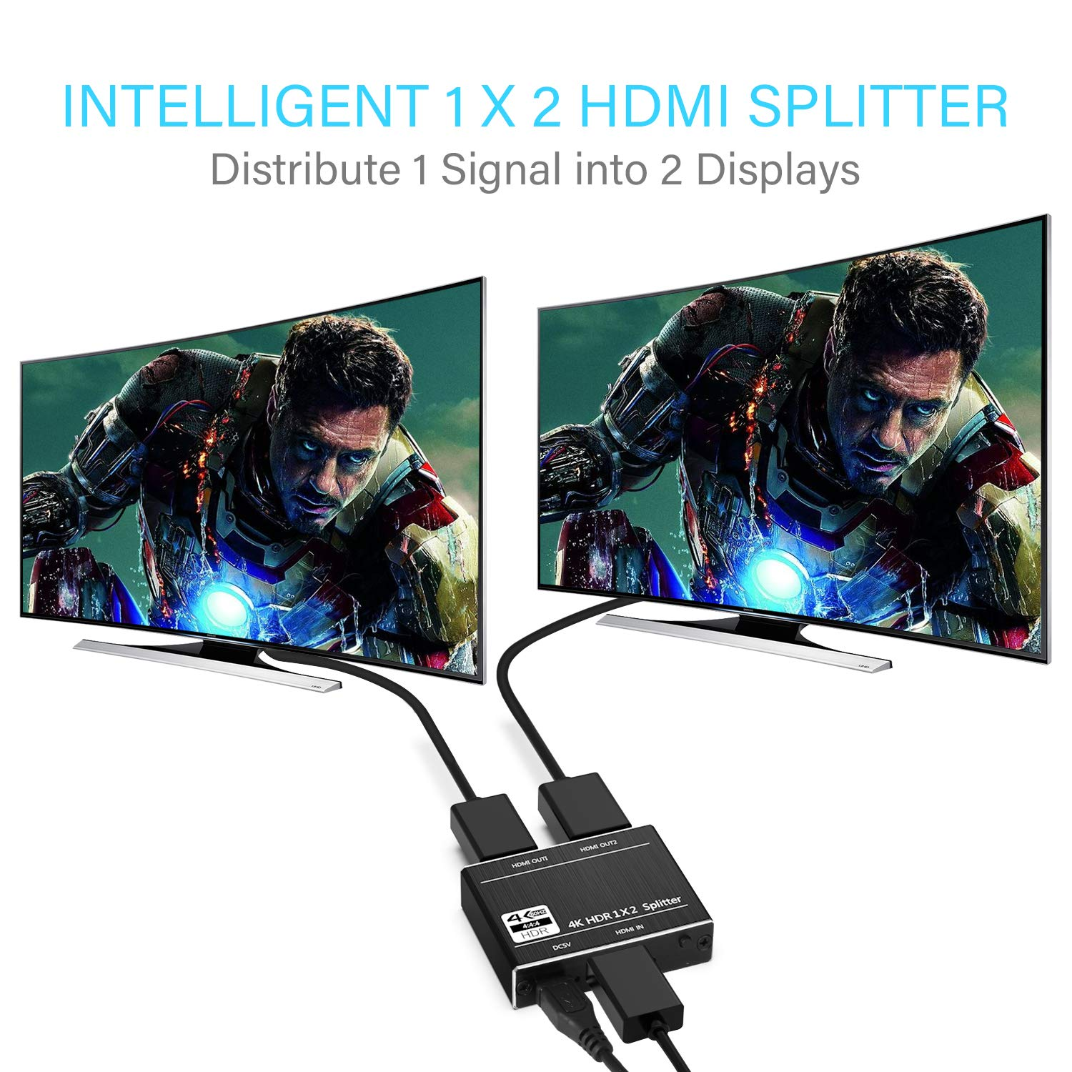 SOWTECH HDMI 2.0 Splitter Powered 1 in 2 Out HDMI Splitter 2160P 4Kx2K@60Hz RGB/HDCP 2.2 / 3D and HDR for Dual Monitor Duplicating Video and Audio by SOWTECH (Image #4)