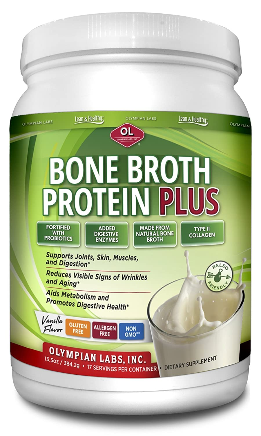 Olympian Labs Bone Broth Protein Plus with Added Probiotics and Digestive Enzymes