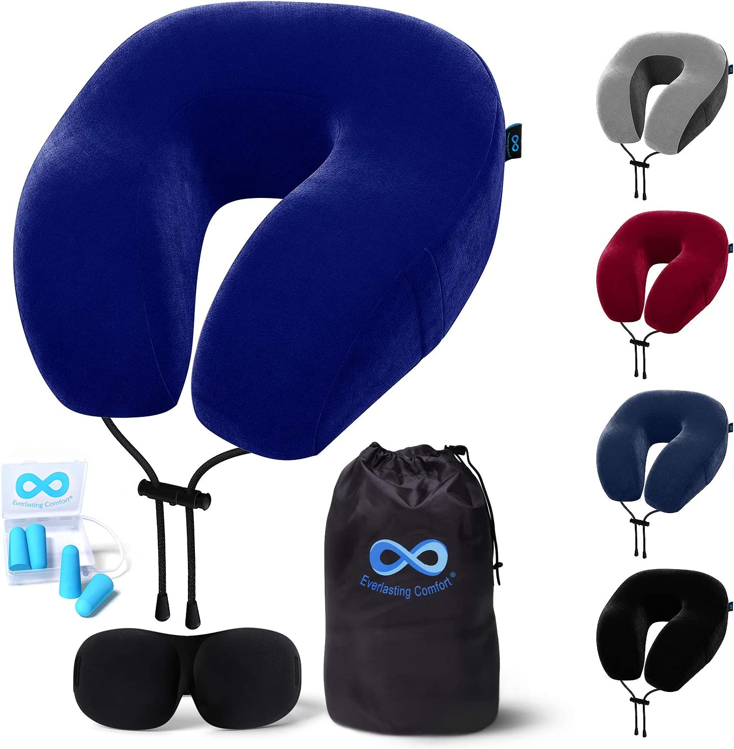 Everlasting Comfort Memory Foam Travel Pillow - Includes Eye Masks and Earplugs - Neck Pillow for Airplane (Blue)