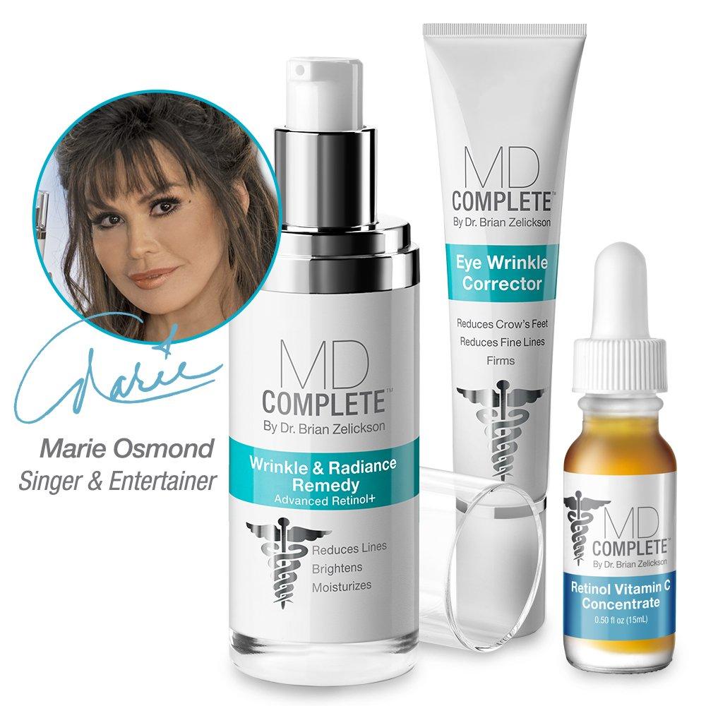 MD Complete WRINKLE & RADIANCE TRIO with RETINOL, VITAMIN C and PEPTIDES (3-Step Regimen: Wrinkle & Radiance Remedy 1.0 oz + Eye Wrinkle Corrector 0.5 oz + Retinol Vitamin C Serum 0.5 oz) TRIO