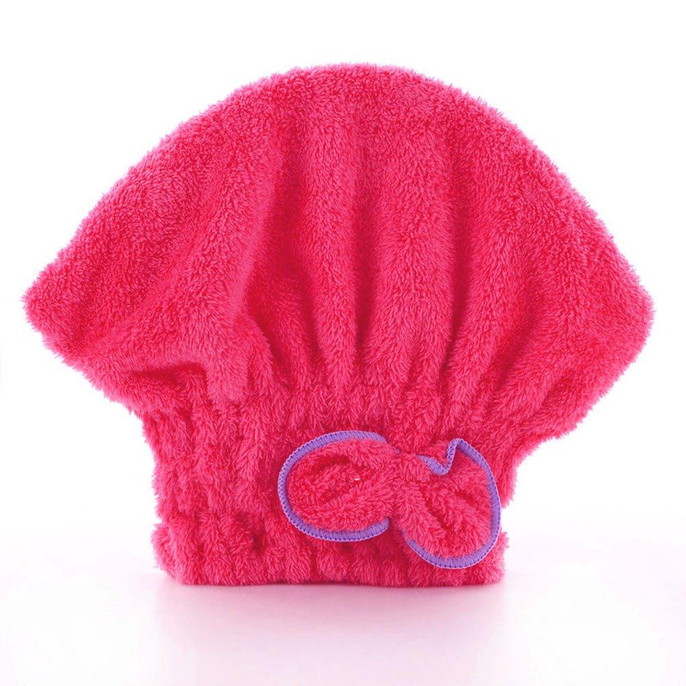 ROKOO - Cuffia da doccia da donna, in microfibra turbante, con fiocchi, da donna Rosa rosso