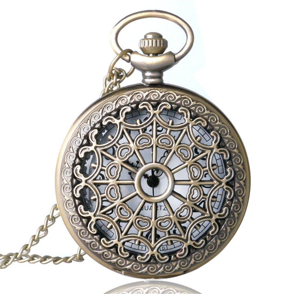 Bronze Antique Vintage Quartz Steampunk Pocket Watch Spider Web Hollow Women Men