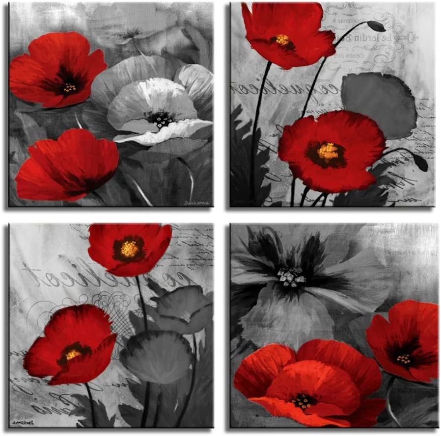 Canvas Paintings Home Decor Prints Romantic Poppies Poster 3 Pieces Red Flowers Pictures for Living Room Modular Wall Art Framed 50x70cm No Frame