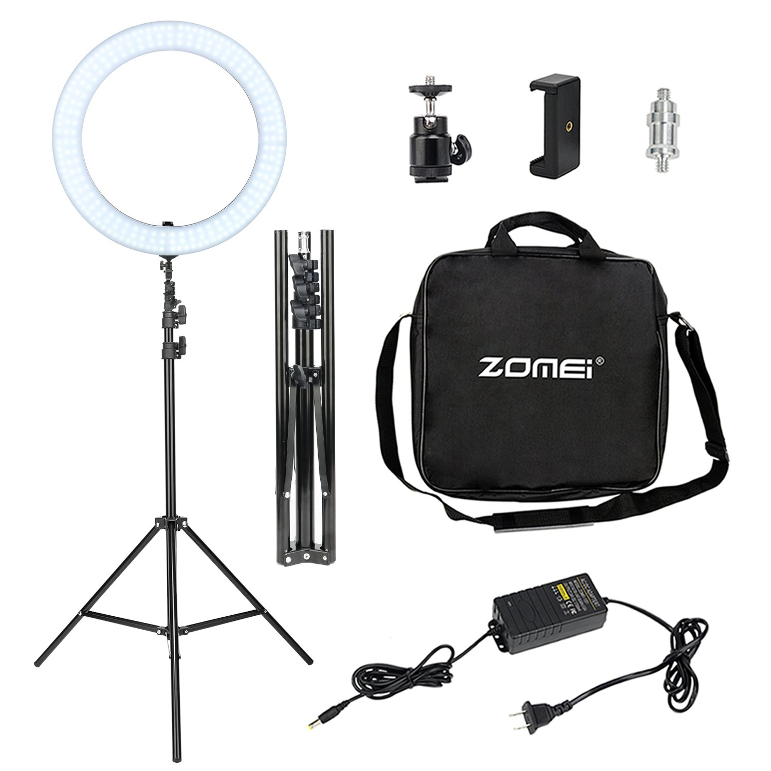 LED Ring Light with Stand, Zomei 18 Inches Ring Light for Camera Smartphone Youtube Video Shooting and makeup, Dimmable 2700-5500K Studio Lighting with Phone Holder, Hot Shoe and Carrying bag by ZoMei