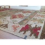 Tapis Kilim en laine brute et coton, motif géométrique Commerce équitable Bikaner – Vert moutarde et rouge, 120 cm x 180 cm