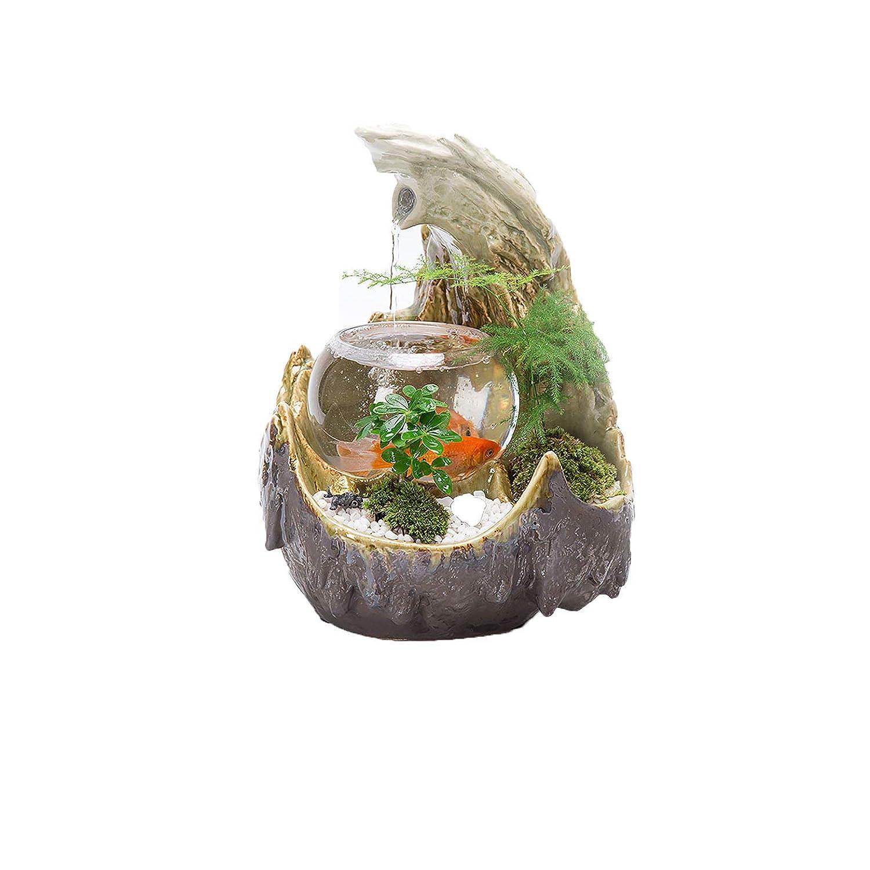 SUNA Small Fish Tank Micro Landscape Ceramic Water Fountain Indoor Small Water Humidifier